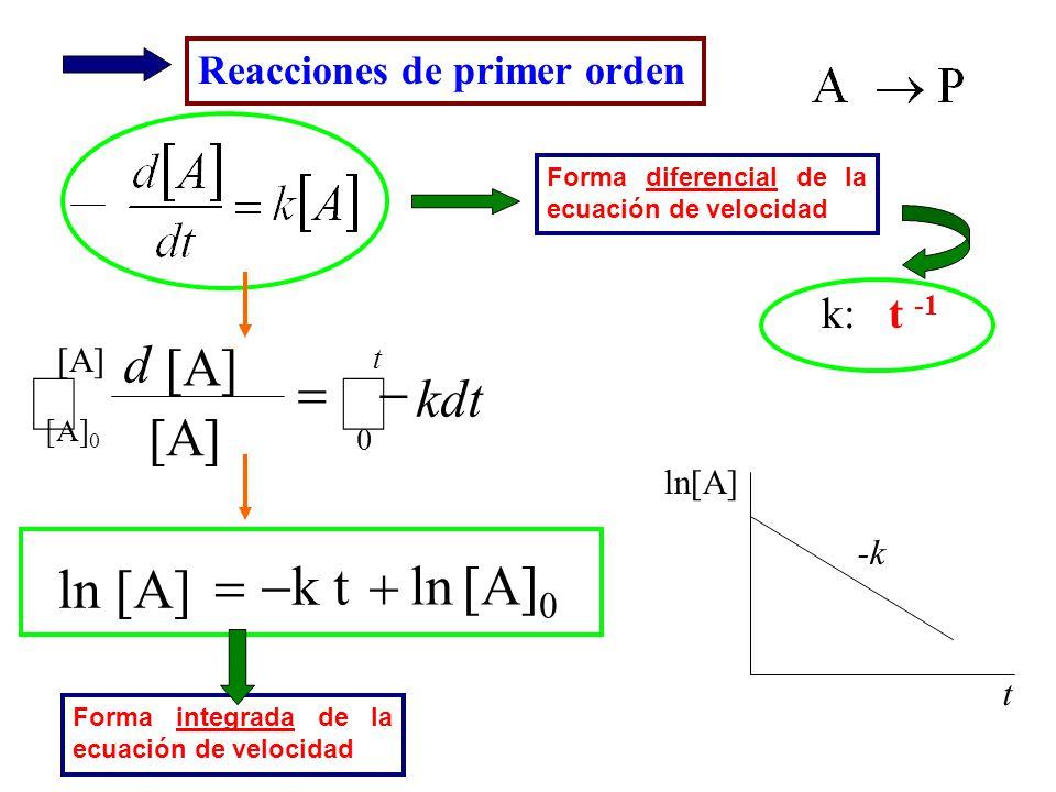 ò [A]0 k t ln ln [A] + - = - = kdt d k: t -1